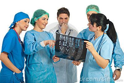 Doctors team discussion with MRI