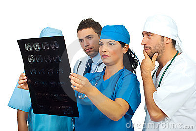 Doctors team looking worried at MRI