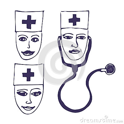 Doctors. Three icon faces