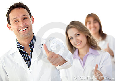 Doctors with thumbs-up