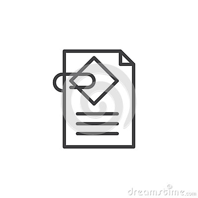 Free Document Attachment Line Icon, Outline Vector Sign Stock Photography - 88294322