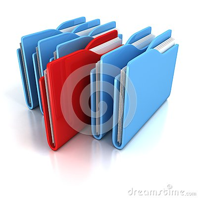Document office folders on white background