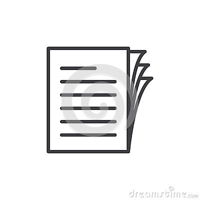 Document papers pile line icon, outline vector sign, linear style pictogram isolated on white. Vector Illustration