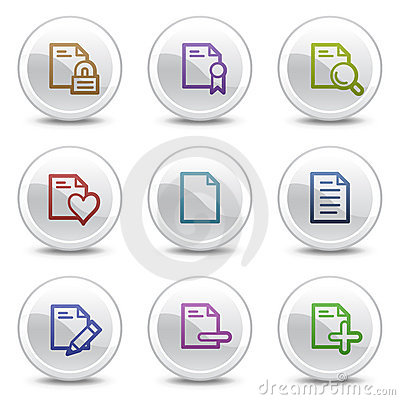 Document web colour icons set 2, circle buttons
