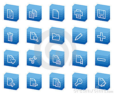Document web icons, blue box series
