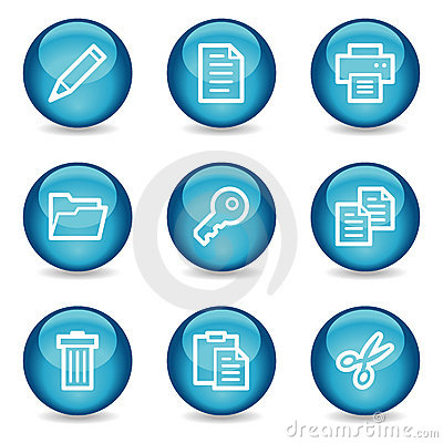 Document web icons, blue glossy sphere series