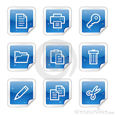 Document web icons, blue glossy sticker series
