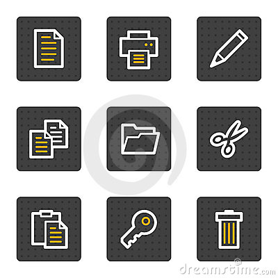 Document web icons, grey buttons series
