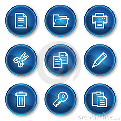 Document web icons set 1, blue circle buttons