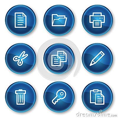 Document web icons set 1, blue circle buttons