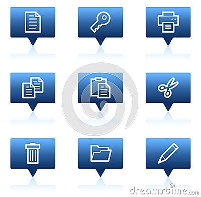Free Document Web Icons Set 1, Blue Speech Bubbles Stock Images - 11819394