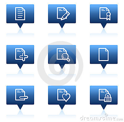 Free Document Web Icons Set 2, Blue Speech Bubbles Royalty Free Stock Photography - 11819397