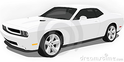 Dodge Challenger Muscle Car On White