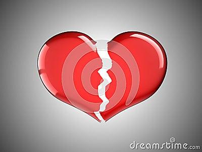 Doença e dor. Coração quebrado vermelho