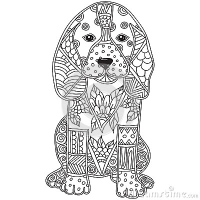 Dog adult antistress or children coloring page. Vector Illustration