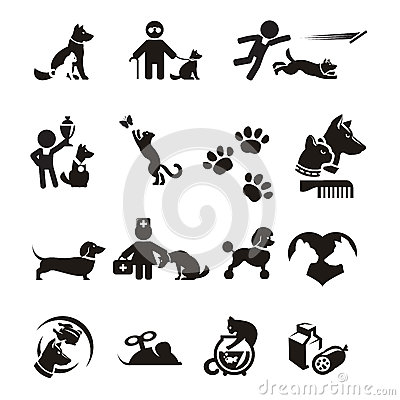Free Dog And Cat Icons Set Royalty Free Stock Images - 32745009