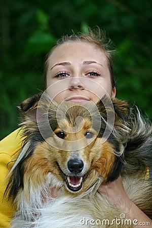 Free Dog And Girl Stock Image - 14170551