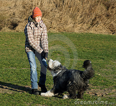 Free Dog And Girl Fighting Over A Stick Royalty Free Stock Image - 4122426