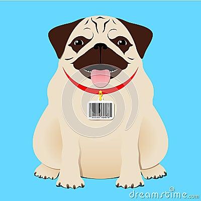 Dog with bar code tag