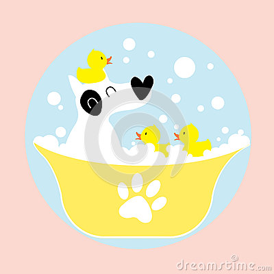 Free Dog Bathing With Rubber Duck Stock Photo - 28294400