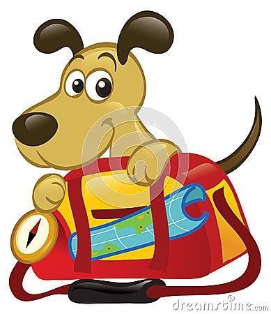 Dog Behind A Big Travel Bag