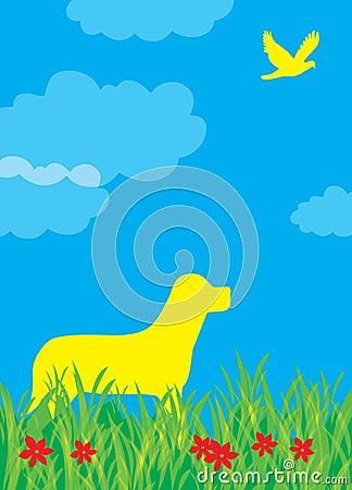 Dog and bird illustration