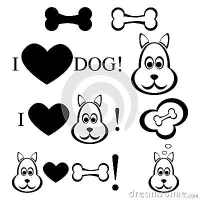 Dog with bone illustration