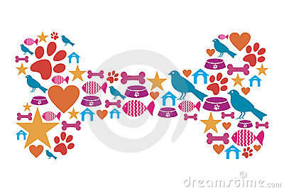 Dog bone shape with pet icon set