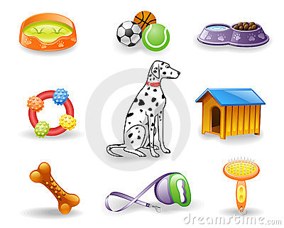 Dog care icon set.