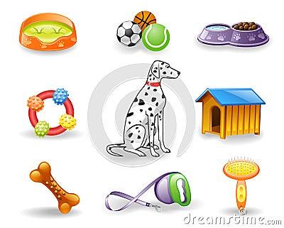 Dog care icon set.