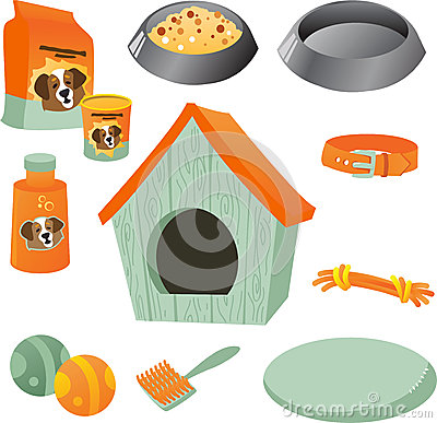 Dog care icon set on the white background