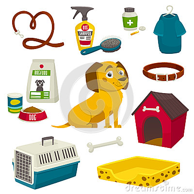Dog care object set, items and stuff, vector cartoon illustration Vector Illustration
