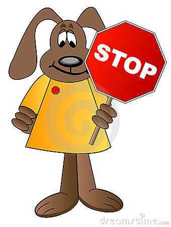 Dog cartoon holding stop sign