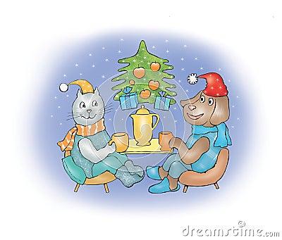 Dog and cat on Christmas