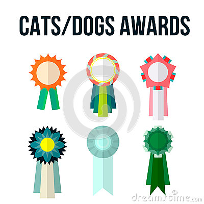 Dog or cat competition winner Vector Illustration