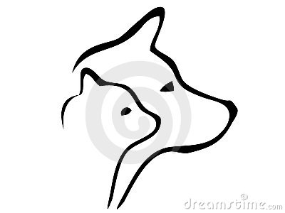 Dog and cat heads silhouettes logo