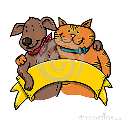 Dog and cat holding a banner illustration