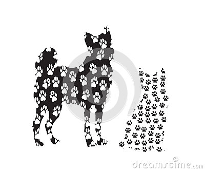 Dog and cat image in tracks Vector Illustration