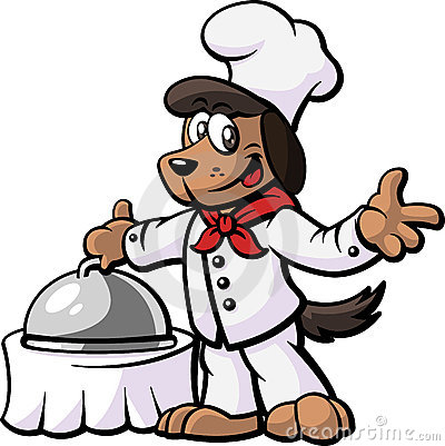 Dog Chef Presenting His Dish