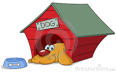 Dog in doghouse