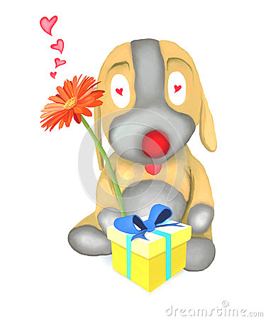 Dog Doll Holding Flower and Gift Box