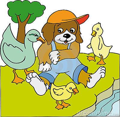 Dog with ducks