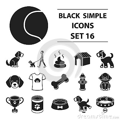 Free Dog Equipment Set Icons In Black Style. Big Collection Dog Equipment Vector Symbol Stock Illustration Stock Images - 99210704