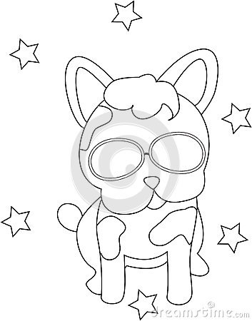 Dog with eyeglasses coloring page