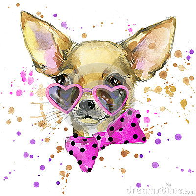 Dog fashion T-shirt graphics. dog illustration with splash watercolor textured background. unusual illustration watercolor puppy Cartoon Illustration