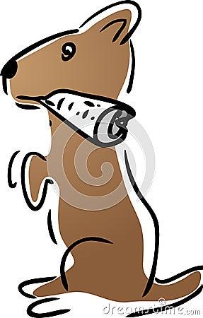 Dog fetching newspaper