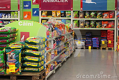 Dog food in hypermarket Editorial Image