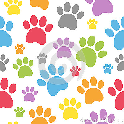 Dog Footprints Seamless Pattern