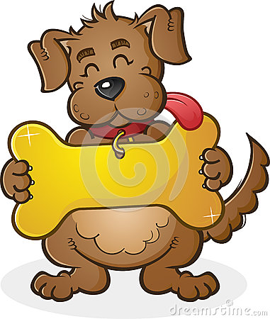 Dog with Giant Collar Tag Sign Cartoon Character