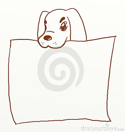 Dog holding blank poster